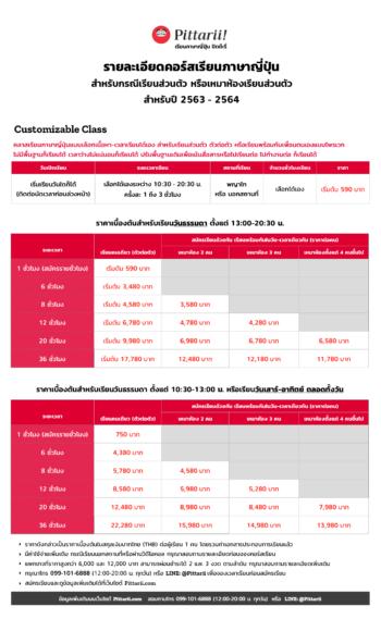 ราคา Private Japanese - Customizable Class by Pittarii (2020-2021)